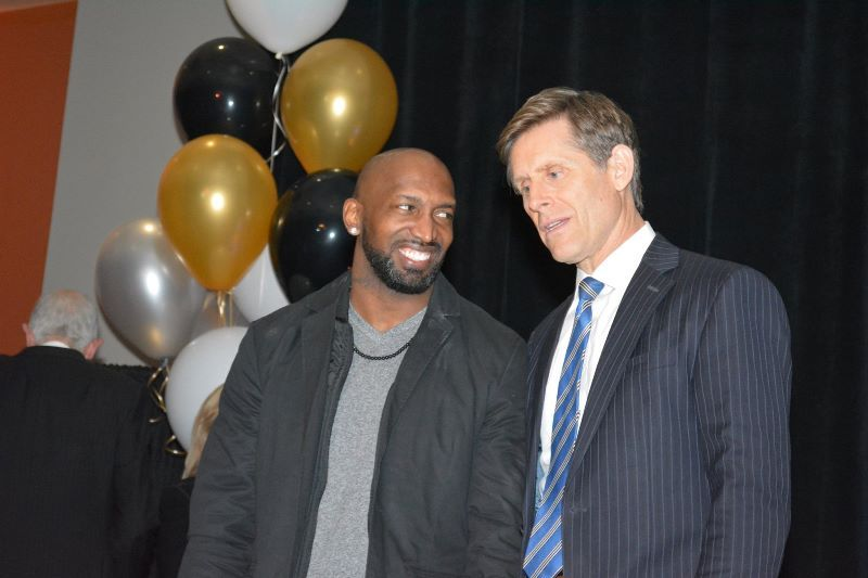Inductee André Goodman with Geoff Hart, Master of Ceremonies of the first annual GCS Hall of Fame Celebration.
