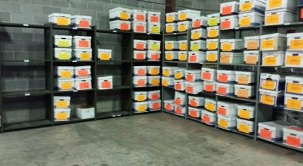 Warehouse shelves with smaller items