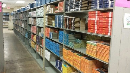 warehouse shelves with books