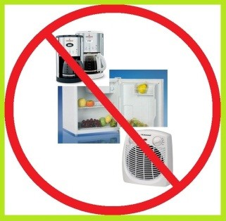 Remove all personal appliances from classrooms and offices.