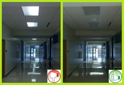 Turn on hallways and corridor lights no more than 5 minutes before the first student arrives and off as soon as the last student leaves.