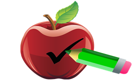 Apple with a check mark