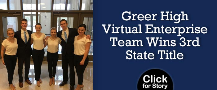 Greer High Virtual Enterprise Team Wins 3rd State Title