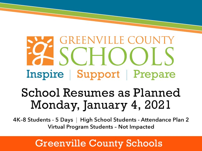 Greenville County Schools to return on Monday, January 4