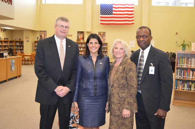 Governor Haley with Superintendent W. Burke Royster, Board Members Lynda Leventis-Wells and Kenneth Baxter.