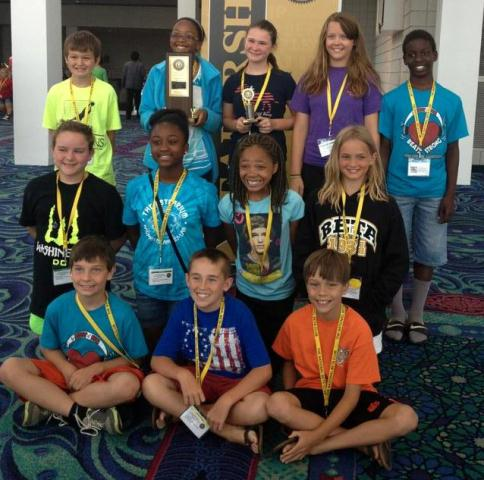 group of Fountain Inn ES students wearing metals