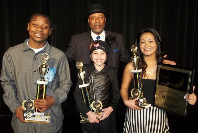 L to R: Israel Taylor of League Academy, Audrey Dickson of Southside Christian School, and Shane Li of Wade Hampton High School.  Back Row: Robert Hoefer, Founder, Best Singer in the District
