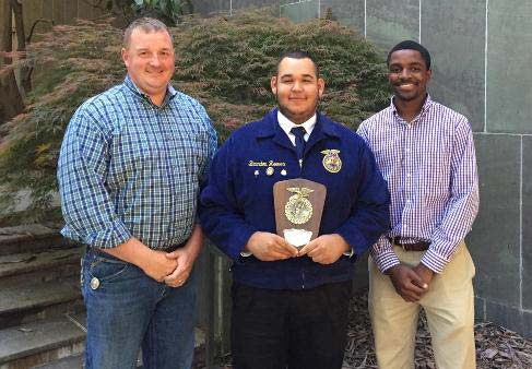 Branden Reeves of the Woodmont High School Chapter of Future Farmers of America took first place in the South Carolina FFA Piedmont Regional Prepared Public Speaking contest at Clemson University.