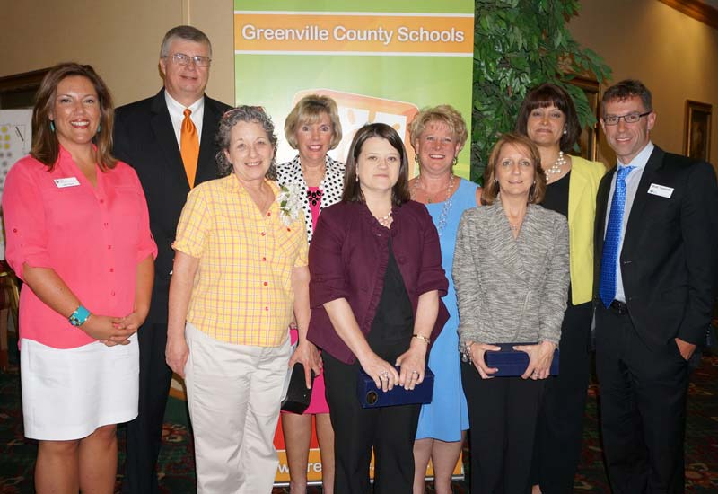 L to R: Heidi Payne, Greenville Federal Credit Union; Superintendent Burke Royster; Cynthia Cantrell, Welcome Elementary; Debbie Bird, Riverside High; Jennifer Dodds, Chandler Creek Elementary; Patty Fox, Human Resources; Lisa Belt, Special Education Services; Nicky Andrews, Greenbrier Elementary; and Matt Tebbetts, Greenville Federal Credit Union.