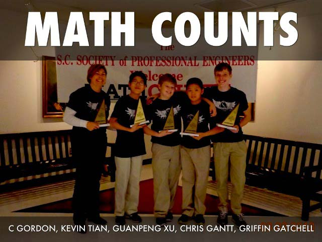 Sterling School MathCounts Team, left to right: Coach Constans Gordon, Kevin Tian, Guanpeng (Andy) Xu, Chris Gantt, Griffin Gatchell.