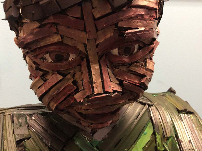 Sculpture made from scrap tires - close up