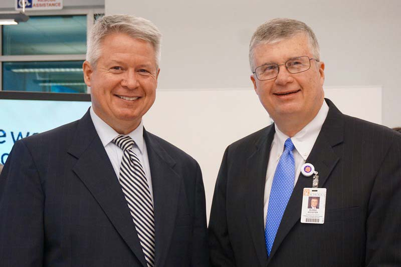 Greenville County School Superintendent Burke Royster (right) and Michelin North America CEO Pete Selleck co-hosted a breakfast to encourage more school and business partnerships.