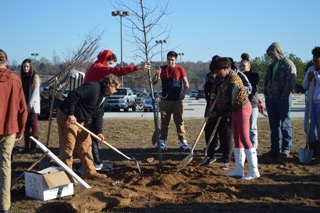 In recognition of Arbor Day the Greer Commission of Public Works helped Greer High School students plant trees on their campus.