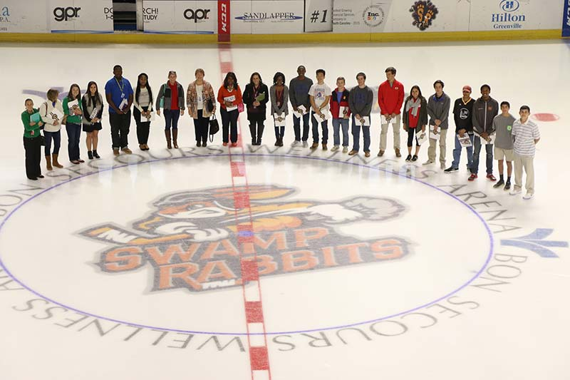 Fifteen students from six high schools participated in a structured field study (work based learning) opportunity at the Bon Secours Wellness Arena with the Swamp Rabbits Hockey Club.