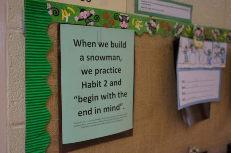 In any given classroom, visitors can observe how students incorporate Steven Covey's Seven Habits of Highly Effective Students into their daily lessons: be proactive, begin with the end in mind, put first things first, think win-win, seek first to understand then to be understood; synergize, and sharpen the saw.
