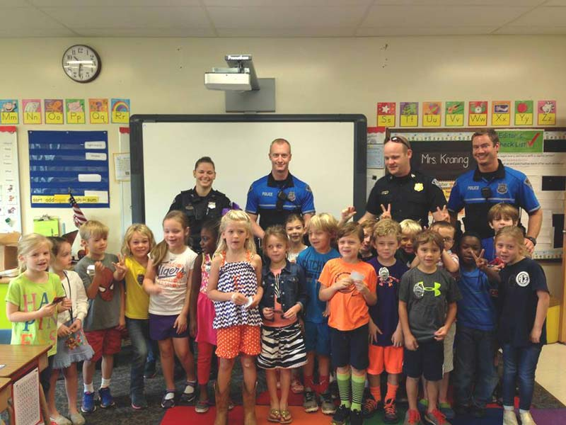 Officer Allen Jacobs visited with first graders in Mrs. Kraning's class at Augusta Circle Elementary 1.