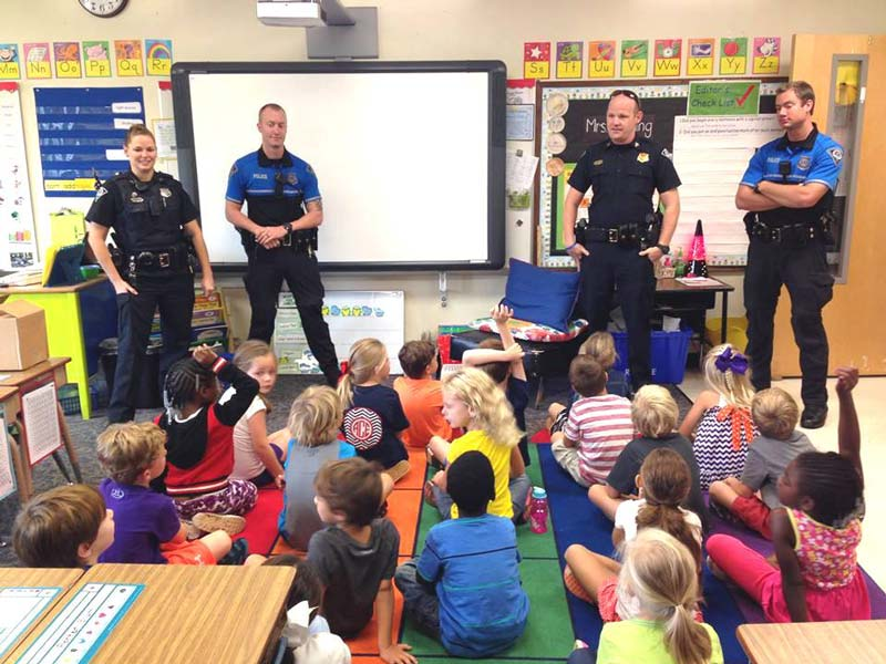 Officer Allen Jacobs visited with first graders in Mrs. Kraning's class at Augusta Circle Elementary 2.