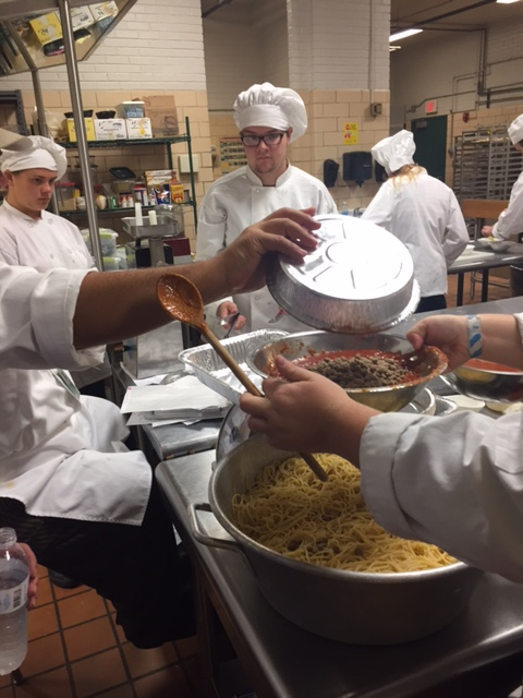 Bonds Career Center culinary students prepare casseroles for Greer Community Ministries' Big Thursday event.  Photo 3