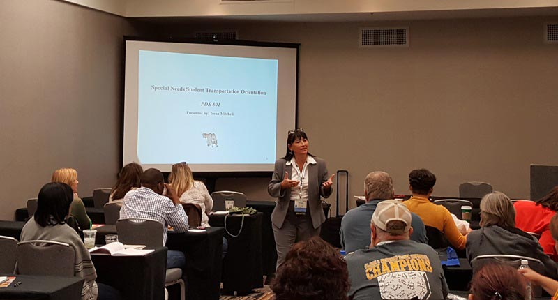 Teena Mitchell serves as an instructor for both the state and national chapters of the Association for Pupil Transportation.