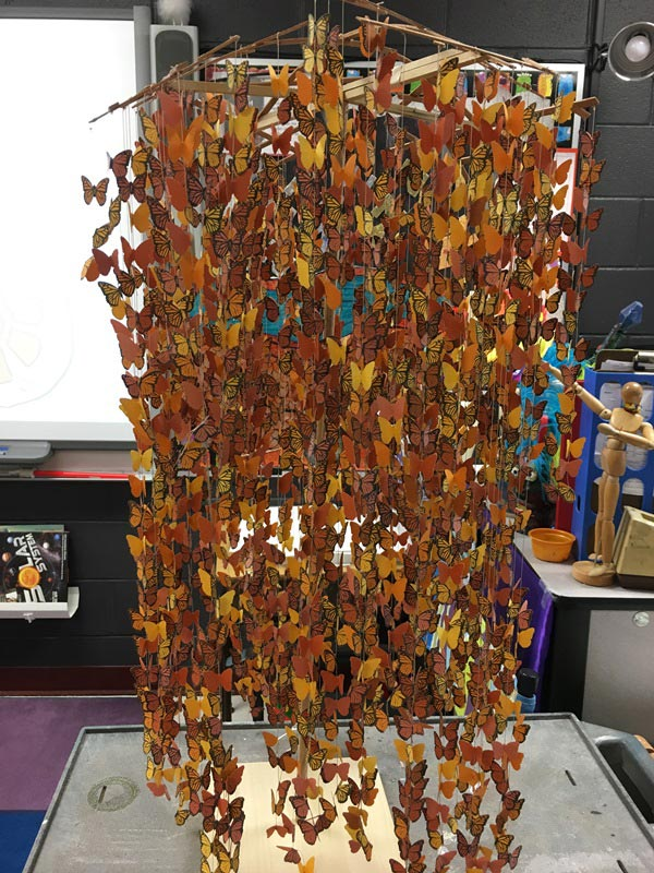 Over 2,000 fifth grade students throughout South Carolina are painting their own versions of Monarchs on vinyl sheets that will be hung in a 20-foot mobile to be exhibited in March at EdVenture Museum in Columbia, S.C.