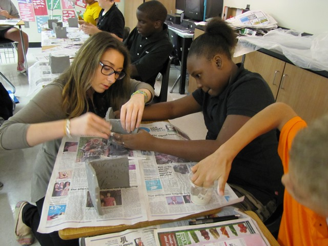 League Academy students working on 3-D art
