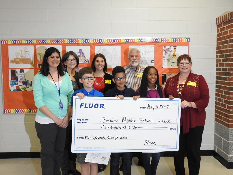 Sevier Middle School won a $1,000 check from Fluor as winners of the Fluor Engineering Design Challenge.