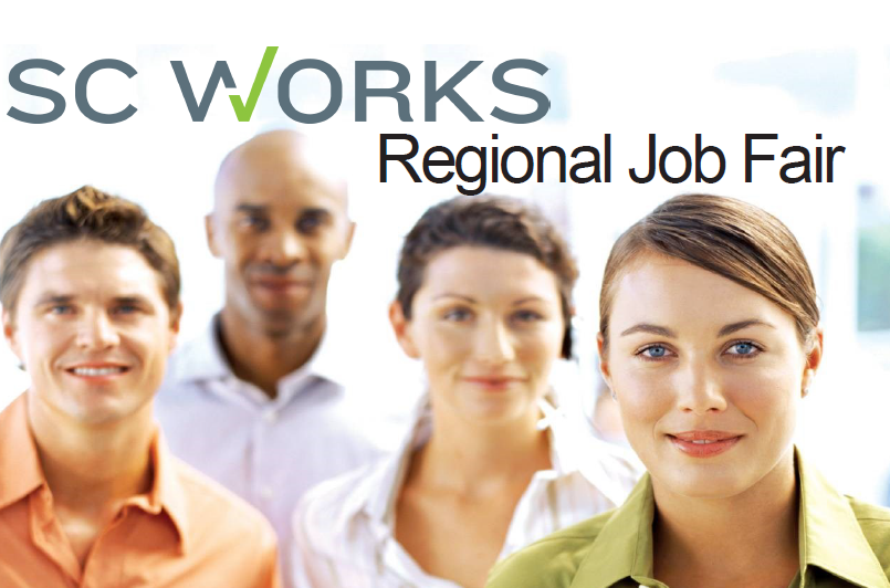 SC Works Regional Job Fair logo with 2 male and 2 female young adults