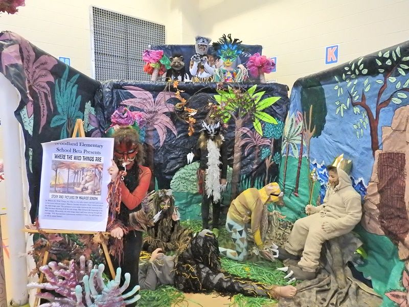 A jungle setting with students showing where the wild things are