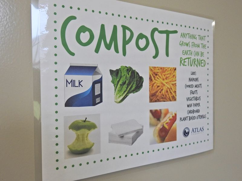 Wall poster explaining composting process