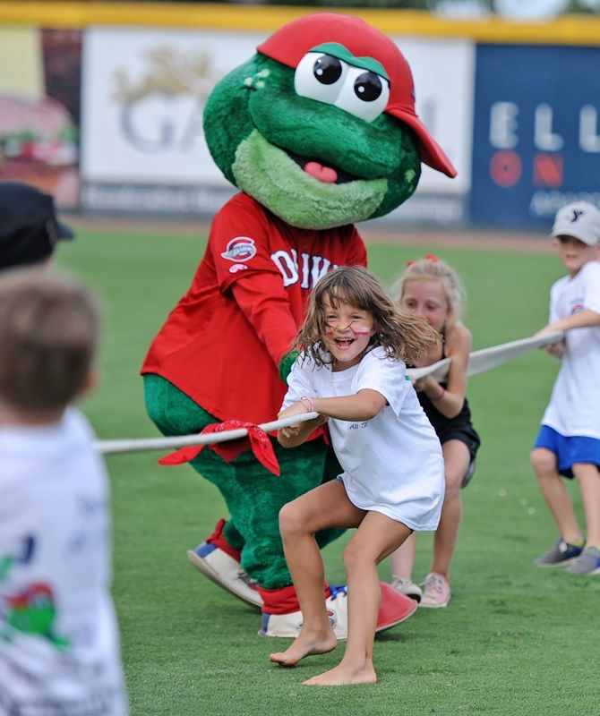 Students with Greenville Drive mascot - Photo 2