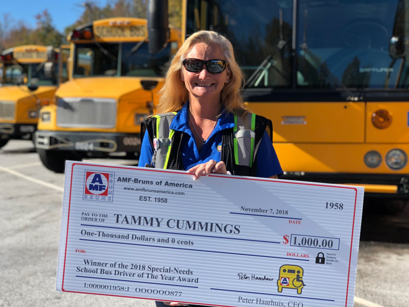 Tammy Cummings, a special needs bus driver, has been named the National Special Needs Bus Driver of the Year.