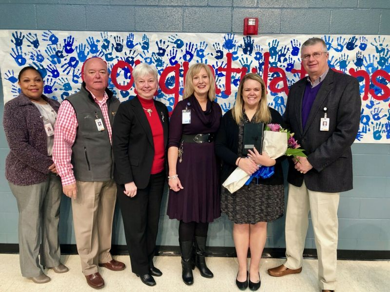 Assistant Superintendent Megan Mitchell-Hoefer, School Board Chairman Chuck Saylors, SCASA Executive Director Beth Phibbs, Simpsonville Elementary Principal Jackie Earle and Superintendent Dr. Burke Royster.