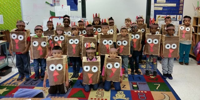 Mrs. Martin's Class is ready for Thanksgiving lunch!