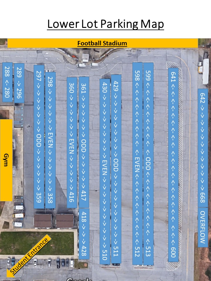 Map of lower lot parking spaces.