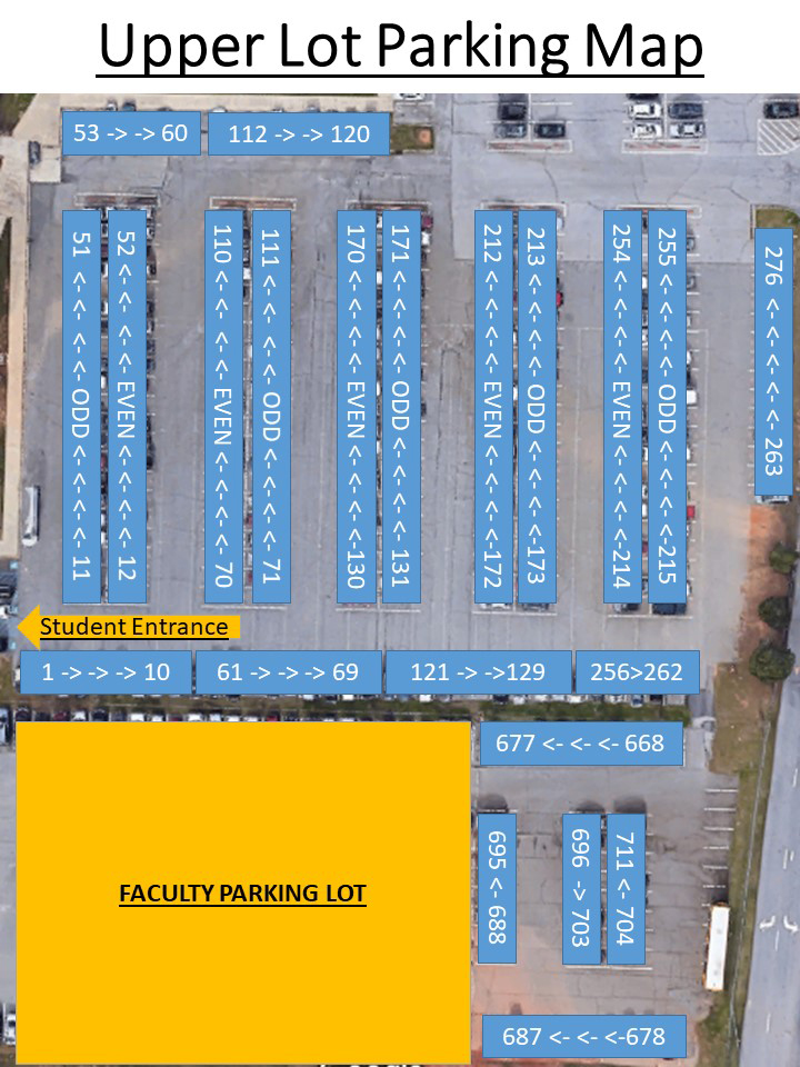 Map of Upper Lot parking spaces