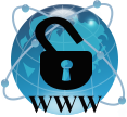 icon: world globe with unlocked padlock and WWW
