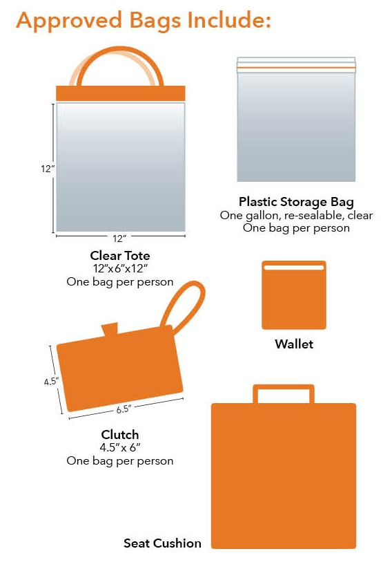 Approved bags include: Clear Tote (12