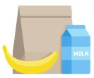 icon: lunch bag with banana and juice
