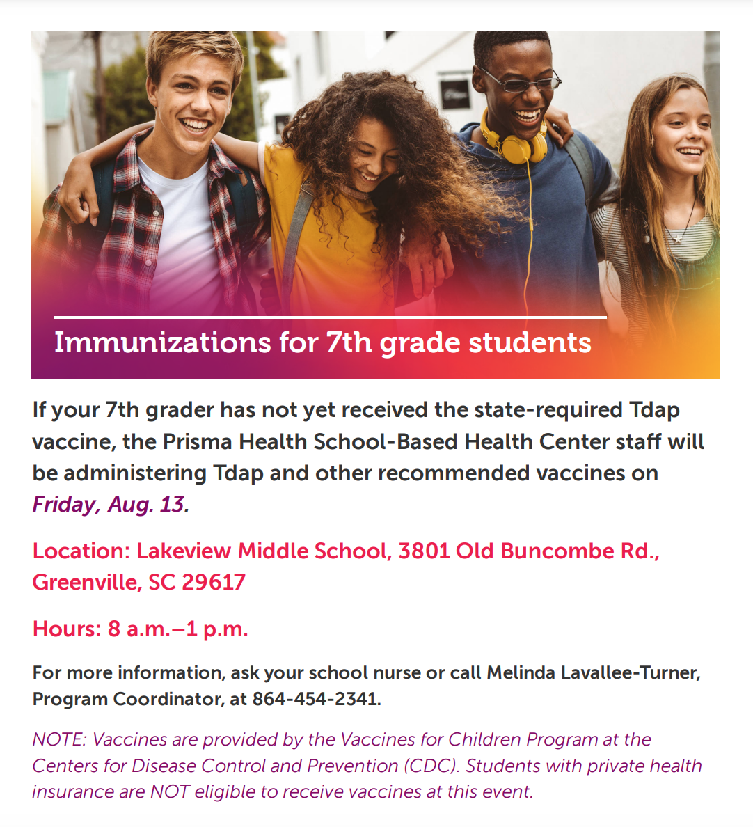 Flyer with information contained in announcement text.