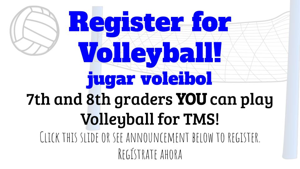 Image of slide with volleyball registration information.