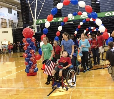 Washington Center students participate in the opening ceremonies of the 2017 Special Olympic Challenge Day on the Bob Jones University campus.