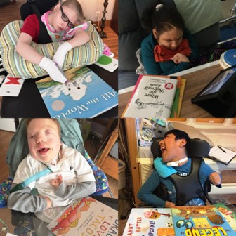 Washington Center students Destiny, Skye, Ben, and Danny participate in reading activities with their new books recently received through a Donor's Choose Grant.