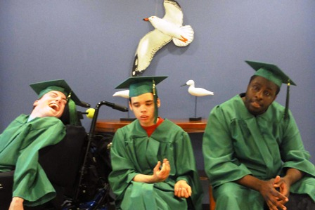 Washington Center students (left to right) Davis Dalby, Brady Stoddard and Cleveland Davis were recognized during the school's graduation ceremonies.