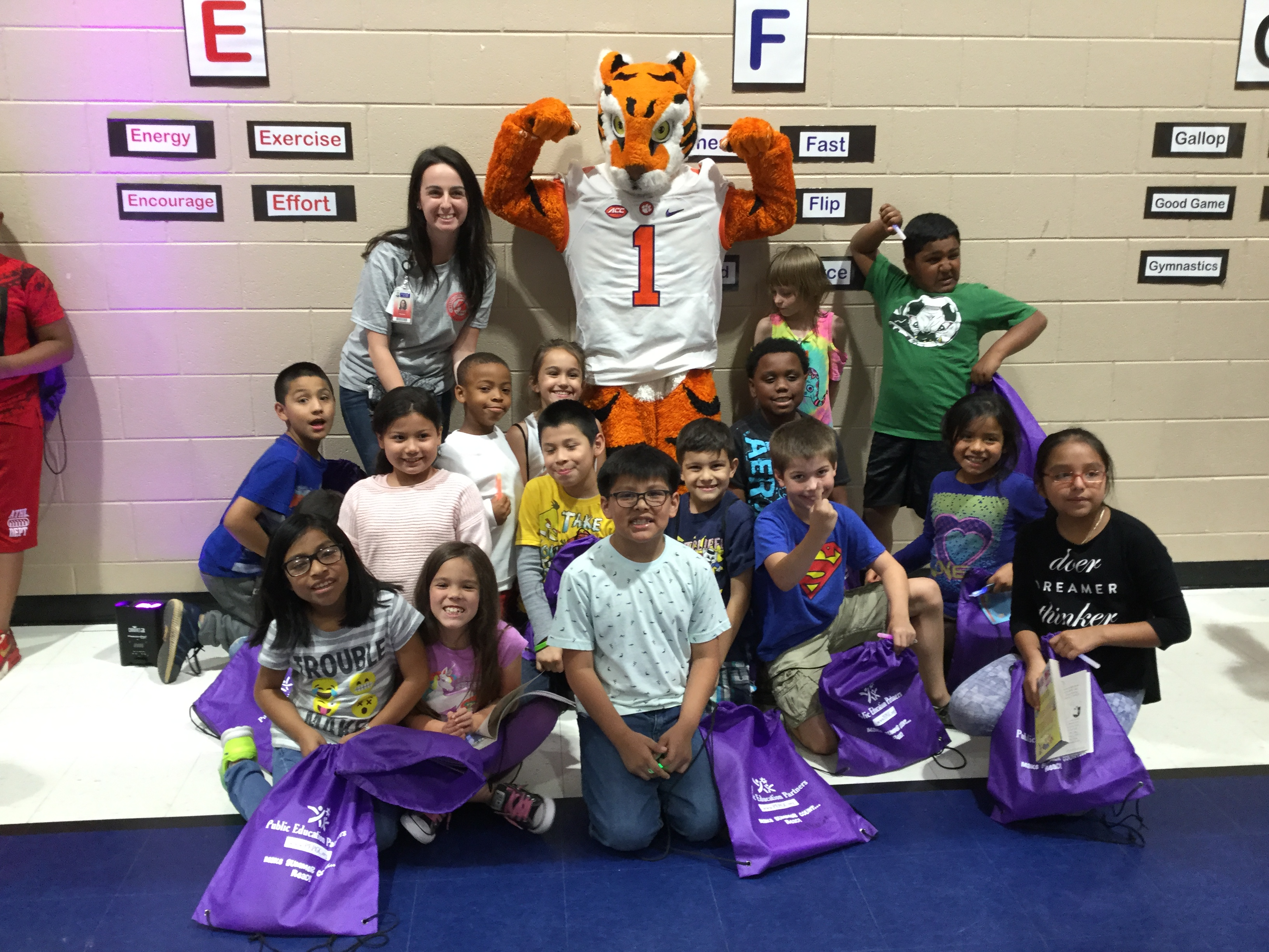 Clemson Tiger with students