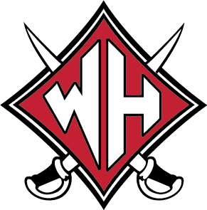Wade Hampton High School Logo Solid Color.  The design shows a red diamond shield, with a large W and H in the center. Behind the diamond shield are silver swords crossing in an x pattern.